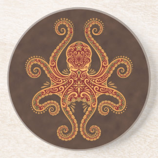 Intricate Golden Red Octopus Coaster