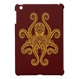 Intricate Golden Red Octopus iPad Mini Cover