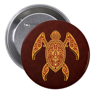 Intricate Golden Red Sea Turtle 7.5 Cm Round Badge