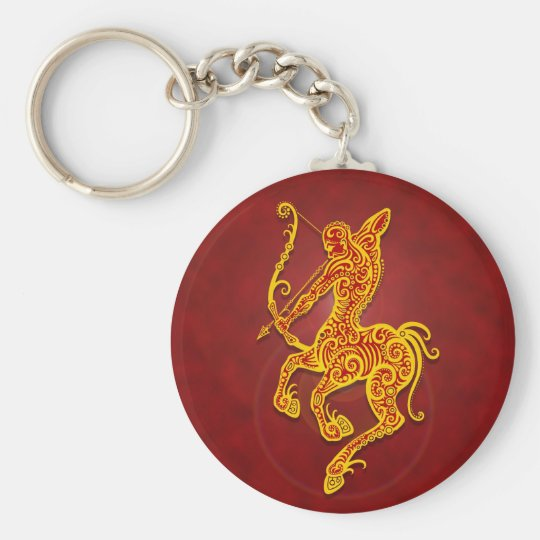 Intricate Golden Red Tribal Sagittarius Key Ring