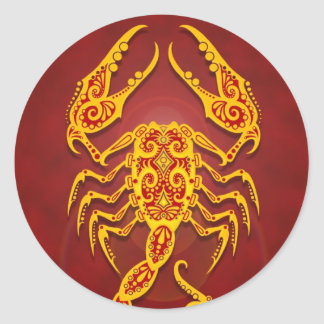 Intricate Golden Red Tribal Scorpio Classic Round Sticker