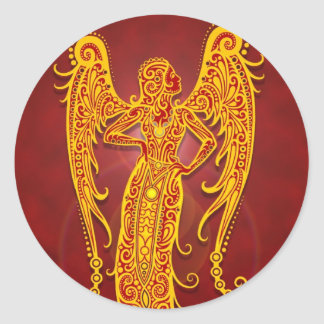 Intricate Golden Red Tribal Virgo Classic Round Sticker