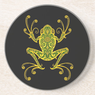 Intricate Green and Black Tree Frog Coaster