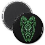 Intricate Green Aries Zodiac on Black