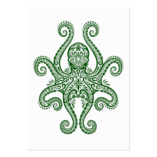 Intricate Green Octopus on White Business Card Templates