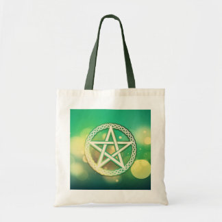 Intricate green pentacle tote bag