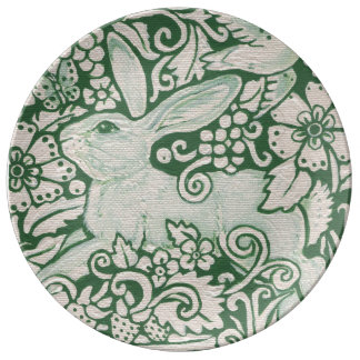 Intricate Green Rabbit Design Porcelain Plate