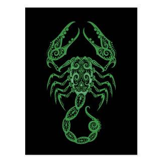 Intricate Green Scorpio Zodiac on Black Post Card