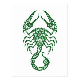 Intricate Green Scorpio Zodiac on White Post Cards