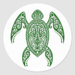 Intricate Green Sea Turtle on White Round Stickers