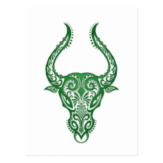 Intricate Green Taurus Zodiac on White Postcard