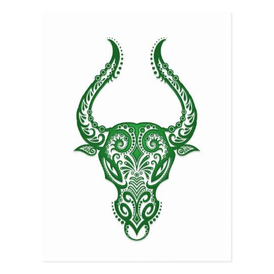 Intricate Green Taurus Zodiac on White Postcard