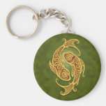 Intricate Green Tribal Pisces Basic Round Button Key Ring