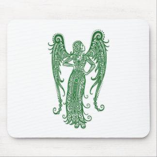 Intricate Green Virgo Zodiac on White Mousepad