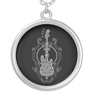 Intricate Grey Bass Guitar Design on Black Silver Plated Necklace
