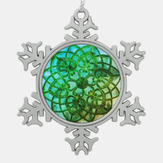 Intricate metalwork green mandala style decoration pewter snowflake decoration