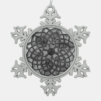 Intricate metalwork grey mandala style decoration pewter snowflake decoration
