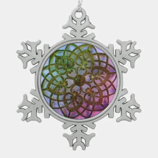 Intricate metalwork mandala style decoration pewter snowflake decoration