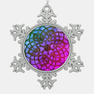 Intricate metalwork purple mandala xmas decoration pewter snowflake decoration