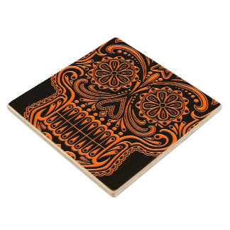 Intricate Orange and Black Sugar Skull Wood Coaster