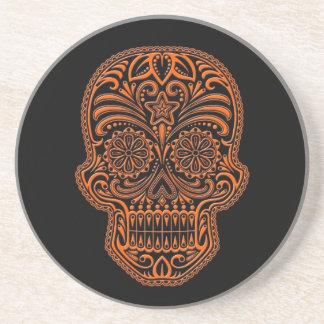 Intricate Orange Sugar Skull on Black Coaster