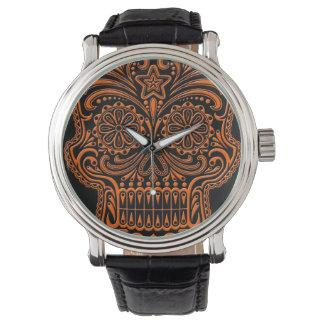 Intricate Orange Sugar Skull on Black Watch