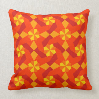 Intricate Patchwork Design Yellow and Red Shades Cushion