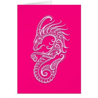 Intricate Pink Capricorn Zodiac Card