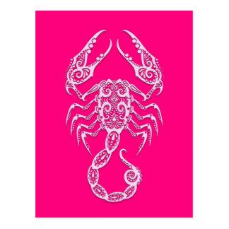 Intricate Pink Scorpio Zodiac Postcard