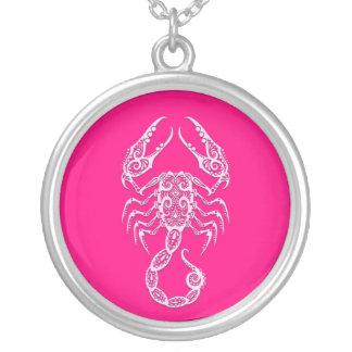 Intricate Pink Scorpio Zodiac Round Pendant Necklace
