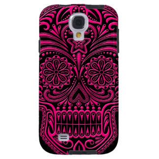 Intricate Pink Sugar Skull on Black Galaxy S4 Case