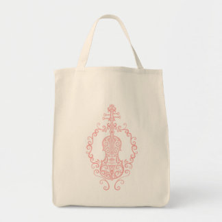 Intricate Pink Violin Design Bag
