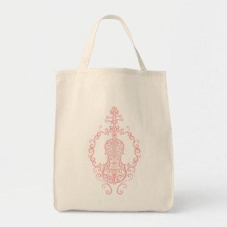 Intricate Pink Violin Design Grocery Tote Bag