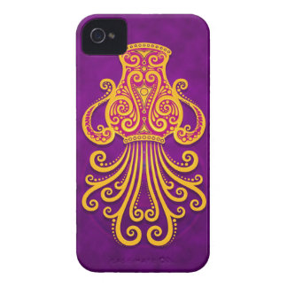 Intricate Purple and Yellow Tribal Aquarius iPhone 4 Covers