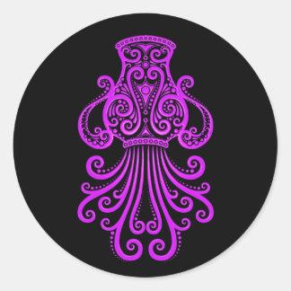 Intricate Purple Aquarius Zodiac on Black Sticker