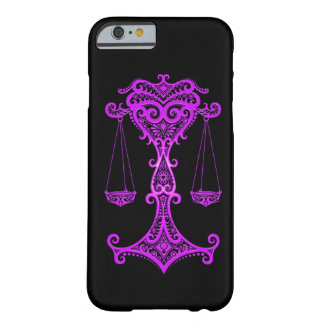 Intricate Purple Libra Zodiac on Black Barely There iPhone 6 Case