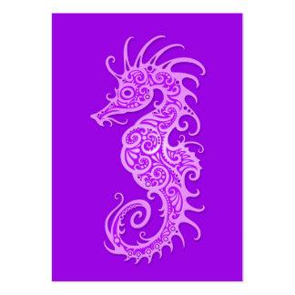 Intricate Purple Seahorse Design Business Card Template