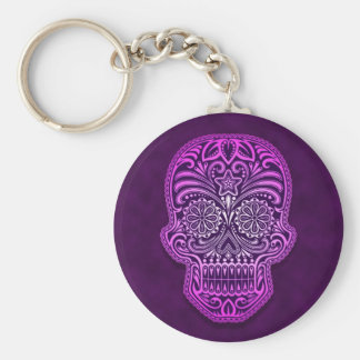 Intricate Purple Sugar Skull Basic Round Button Key Ring