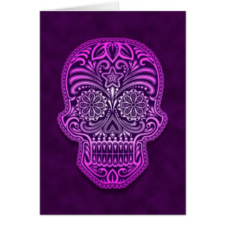 Intricate Purple Sugar Skull Greeting Card
