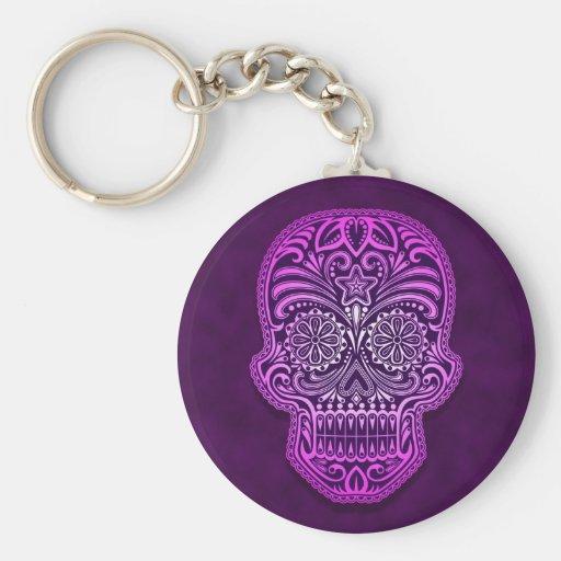 Intricate Purple Sugar Skull Keychains