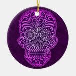 Intricate Purple Sugar Skull Ornament