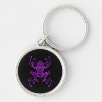 Intricate Purple Tree Frog on Black Silver-Colored Round Key Ring