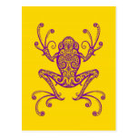 Intricate Purple Tree Frog on Yellow