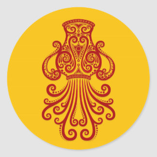 Intricate Red Aquarius Zodiac on Yellow Round Stickers