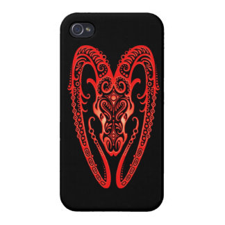 Intricate Red Aries Zodiac on Black Case For iPhone 4