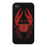 Intricate Red Cancer Zodiac on Black iPhone 4 Covers