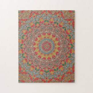 Intricate Red, Green & Blue Mandala Jigsaw Puzzle