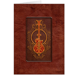 Intricate Red Leather Guitar Greeting Cards