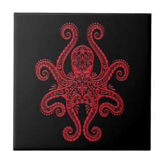 Intricate Red Octopus on Black Tile