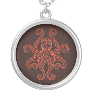 Intricate Red Octopus Silver Plated Necklace